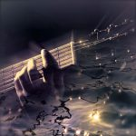 Image showing a close up of a smal lsection of a guitar superimposed against a watery background on a page for guitar lessons